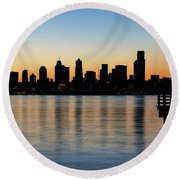 Seattle Skyline Silhouette At Sunrise From The Pier Round Beach Towel