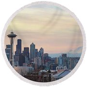 Seattle Skyline With Mount Rainier During Sunrise Panorama Round Beach Towel