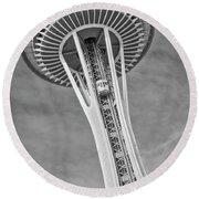 Seattle Space Needle Bw Round Beach Towel