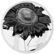 Seattle Sunflower Bw Invert - Stronger Round Beach Towel