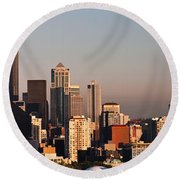 Seattle Sunset Panorama Round Beach Towel