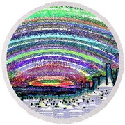 Seattle Sunset Round Beach Towel