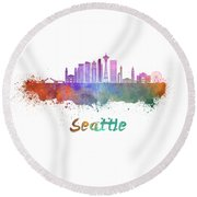 Seattle V2 Skyline In Watercolor Round Beach Towel