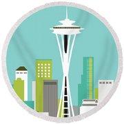 Seattle Washington Vertical Skyline - Teal Round Beach Towel