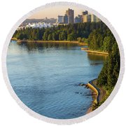 Seawall Along Stanley Park In Vancouver Bc Round Beach Towel