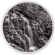 Secluded Falls - Bw Round Beach Towel