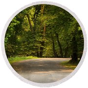 Secluded Forest Road Round Beach Towel