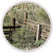Secluded Historic Corral In Sonoran Desert Round Beach Towel