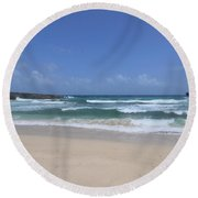 Secluded Remote Beach Of Boca Keto In Aruba Round Beach Towel