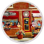 Second Cup Coffee Shop Round Beach Towel