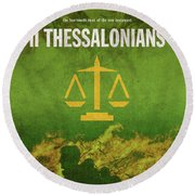 Second Thessalonians Books Of The Bible Series New Testament Minimal Poster Art Number 14 Round Beach Towel