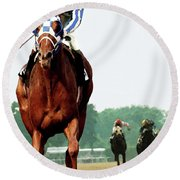 Secretariat Winning The Belmont Stakes, Jockey Ron Turcotte Looking Back, 1973 Round Beach Towel