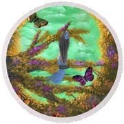 Secret Butterfly Garden Round Beach Towel