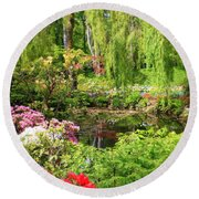 Secret Garden Pond Round Beach Towel