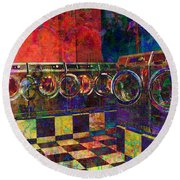 Secret Life Of Laundromats Round Beach Towel