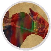 Secretariat Horse Race Watercolor Portrait Round Beach Towel