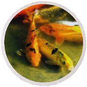 Secrets Of The Wild Koi 9 Round Beach Towel