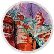 Sedona Arizona Rocky Canyon Round Beach Towel