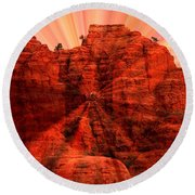 Sedona Sunset Energy - Abstract Art Round Beach Towel by Carol Groenen