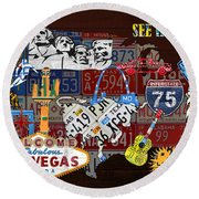 See The Usa Vintage Travel Map Recycled License Plate Art Of American Landmarks Round Beach Towel