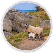 Seep And Lamb Round Beach Towel