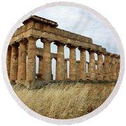 Segesta Greek Temple In Sicily, Italy Round Beach Towel