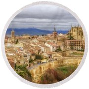 Segovia Cathedral View Round Beach Towel