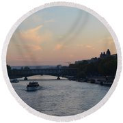 Seine At Sunset Round Beach Towel