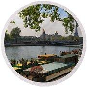 Seine Barges In Paris In Spring Round Beach Towel