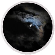 Selene Peaking From The Clouds Round Beach Towel