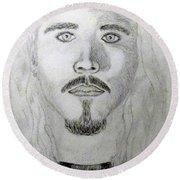 Self-portrait Drawing Round Beach Towel