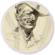 Self Portrait Of Frederic Remington Round Beach Towel