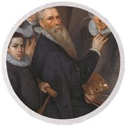 Self Portrait Of The Painter And His Family Round Beach Towel