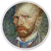 Self-portrait Round Beach Towel by Vincent Van Gogh