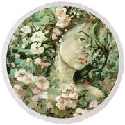 Self Portrait With Aplle Flowers Round Beach Towel