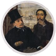 Self Portrait With Evariste De Valernes Round Beach Towel