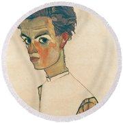 Self-portrait With Striped Shirt Round Beach Towel