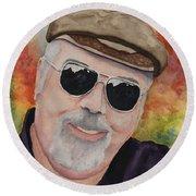Self Portrait With Sunglasses Round Beach Towel