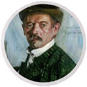 Self Portrait With Tyrolean Hat Round Beach Towel