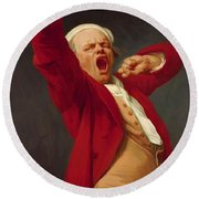 Self Portrait Yawning 1783 Round Beach Towel