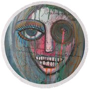 Self Portrait  Youre Beautiful Round Beach Towel