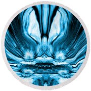 Self Reflection - Blue Round Beach Towel