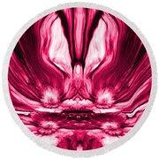 Self Reflection - Pink Round Beach Towel