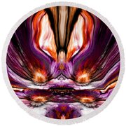 Self Reflection - Purple Orange Round Beach Towel