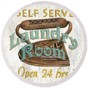 Self Serve Laundry Round Beach Towel