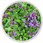 Selfheal In The Lawn Round Beach Towel
