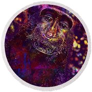 Selfie Monkey Self Portrait  Round Beach Towel