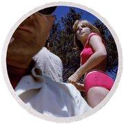 Selfie With Pink Bikini Girl Round Beach Towel