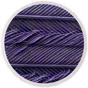 Sem Of Common Grackle Feather Round Beach Towel