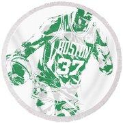 Semi Ojeleye Boston Celtics Pixel Art 2 Round Beach Towel